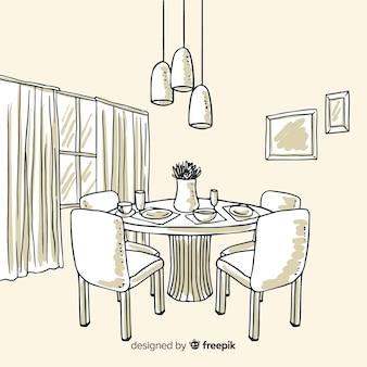 Interior design disegnato a mano del ristorante elegante