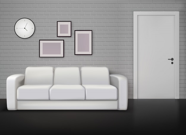 Interior design domestico monocromatico con l'illustrazione realistica contemporanea e d'annata del pavimento nero dell'allenatore bianco grigio della parete