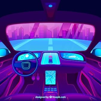 Interior design futuristico di auto autonoma