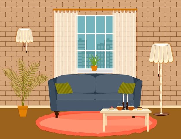 Interior design in stile piatto di soggiorno con mobili, divano, tavolo, pianta d'appartamento, lampada e finestra.