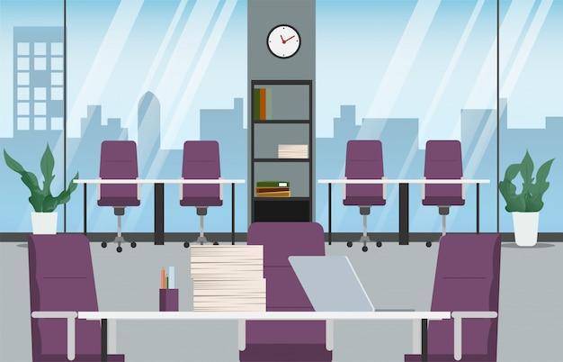 Interior design per ufficio scena della stanza dell'ufficio del posto di lavoro.