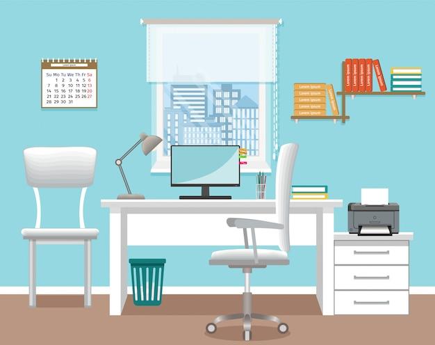 Interior design per ufficio senza persone. stanza dell'ufficio con mobilia e finestra. modello di sala interna funzionante.