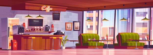 Interiore del caffè con macchina per il caffè al banco cassa, frigorifero, menu lavagna, tavoli con divani, bar e sedie.