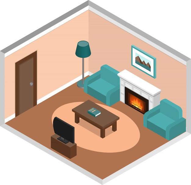 Interiore del salone con camino in stile isometrico,