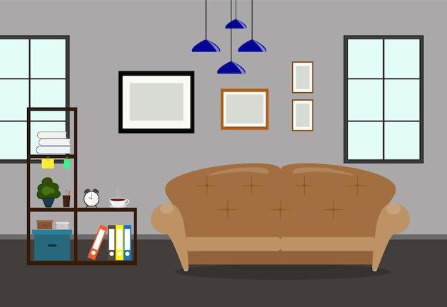 Interiore del salone con divano e cornice sul muro