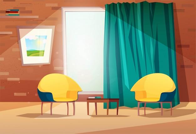 Interiore del salone con poltrone, tavolo, foto sul muro, una finestra e una tenda. muro di mattoni con ripiani. illustrazione.