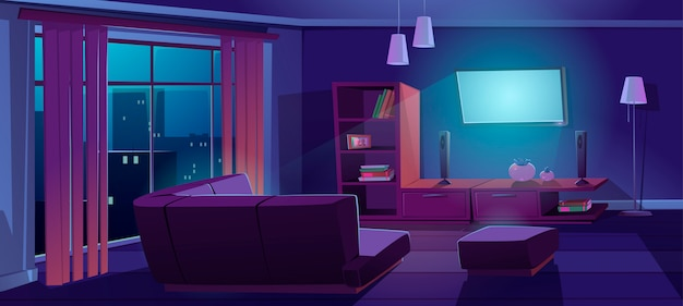Interiore del soggiorno con tv, divano durante la notte