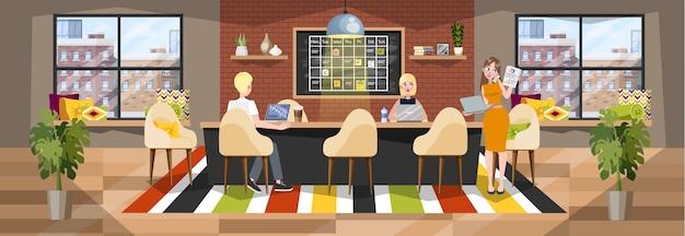 Interiore dell'ufficio. azienda di coworking, posto di lavoro per freelance
