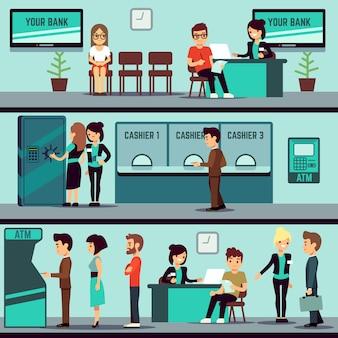Interiore dell'ufficio della banca con la gente