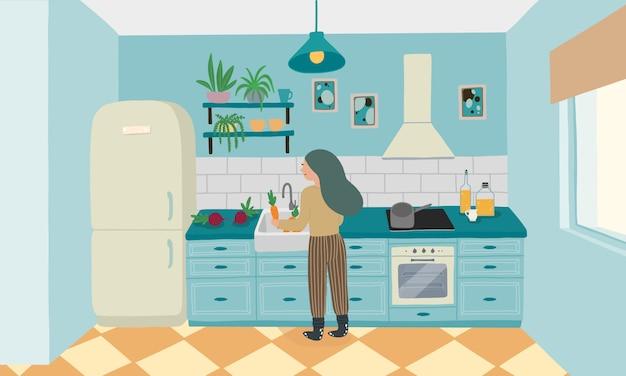 Interiore della cucina con mobili