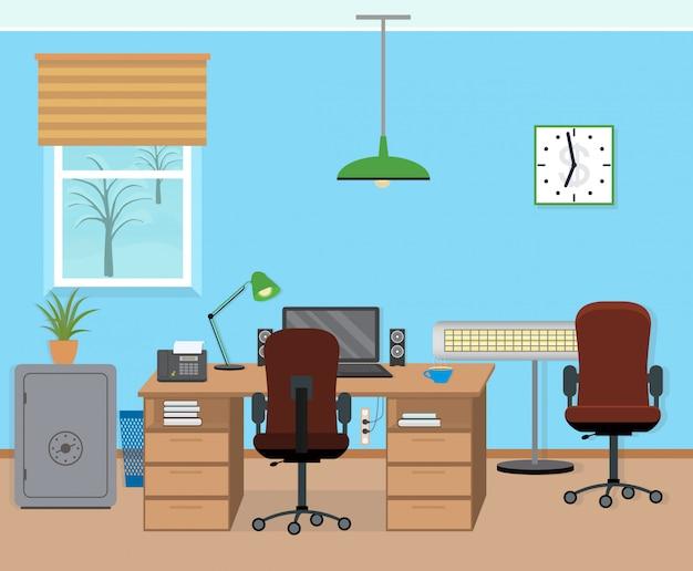 Interiore della stanza dell'ufficio inverno con mobili e attrezzature.