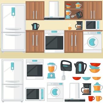 Interiore della stanza della cucina con mobili da cucina, elettrodomestici, elettr
