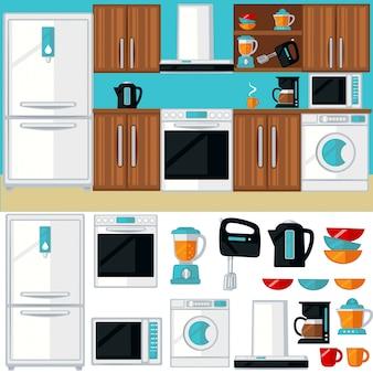 Interiore della stanza della cucina con mobili