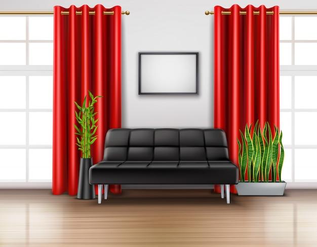 Interiore della stanza realistico con tende rosse di lusso sul pavimento chiaro divano in pelle nera di finestre francesi