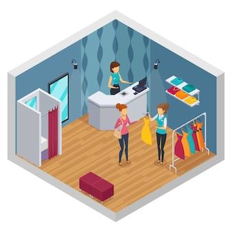 Interiore isometrico colorato cercando negozio con layout di negozio di abbigliamento nuovo rinnovato elegante