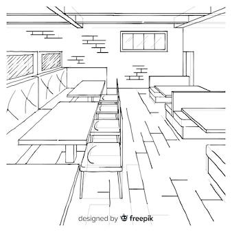 Interiore moderno del ristorante disegnato a mano
