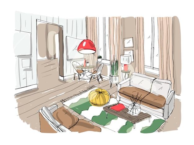 Interiore moderno del salone. salotto arredato. schizzo colorato illustrazione su sfondo chiaro.
