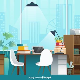 Interiore moderno dell'ufficio con design piatto