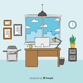 Interiore moderno dell'ufficio disegnato a mano