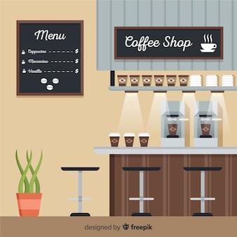 Interiore moderno della caffetteria con design piatto