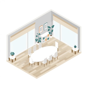 Interiore moderno della sala per conferenze in isometrico