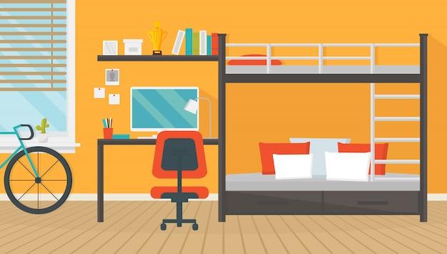 Interiore moderno della stanza dell'adolescente con area di lavoro alla moda per i compiti