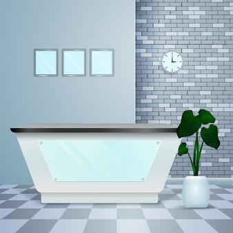 Interiore moderno realistico di ricezione della clinica