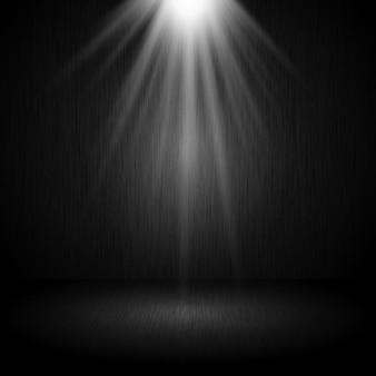 Interiore scuro della stanza del grunge con i riflettori che brillano