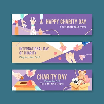 International day of charity banner concept design con pubblicità acquerello.