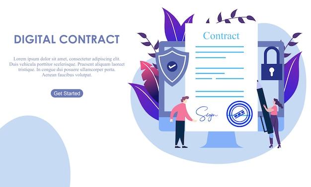 Internet digitale con contratto di landing page.