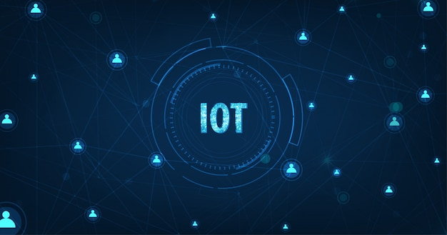 Internet of things (iot) concept.big data cloud computing network di dispositivi fisici con connettività di rete sicura su blu scuro