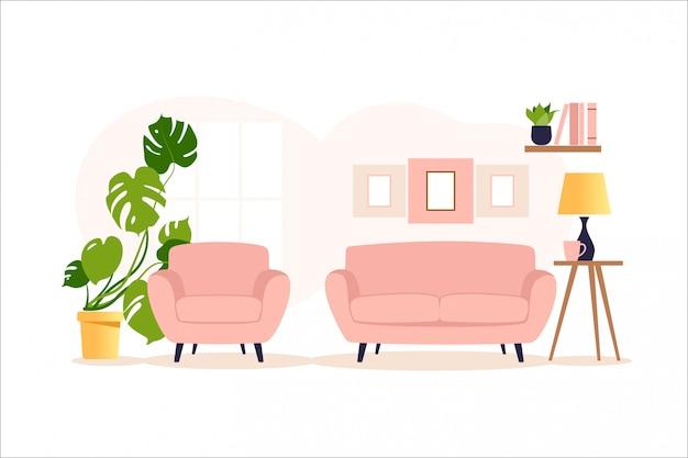Interni accoglienti di un moderno salotto con poltrona, piante d'appartamento, finestra e lampada. illustrazione.