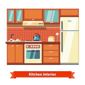 Interni della parete della cucina