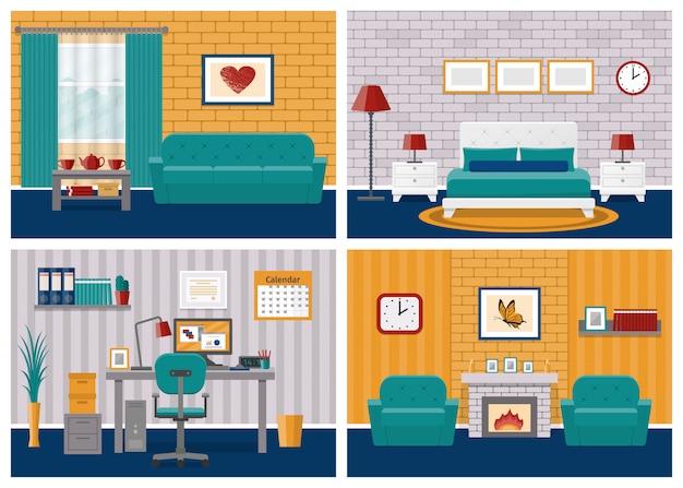 Interni delle camere. soggiorno, camera da letto, hotel, area di lavoro per ufficio in design piatto con mobili.