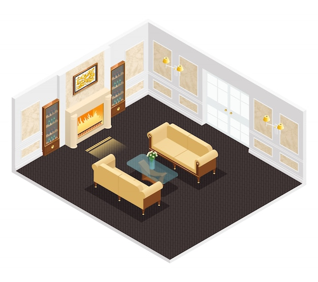Interni di lusso isometrica per soggiorno con camino