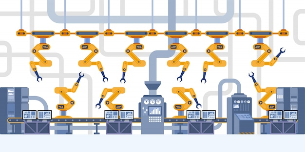 Interni industriali. fabbrica intelligente.