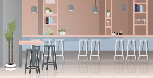 Interni moderni bar con mobili