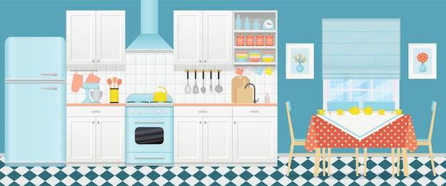Interni retrò in cucina con zona pranzo. illustrazione. design piatto.