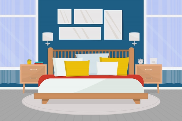 Interno accogliente camera da letto con mobili. letto matrimoniale, comodini, grandi finestre.