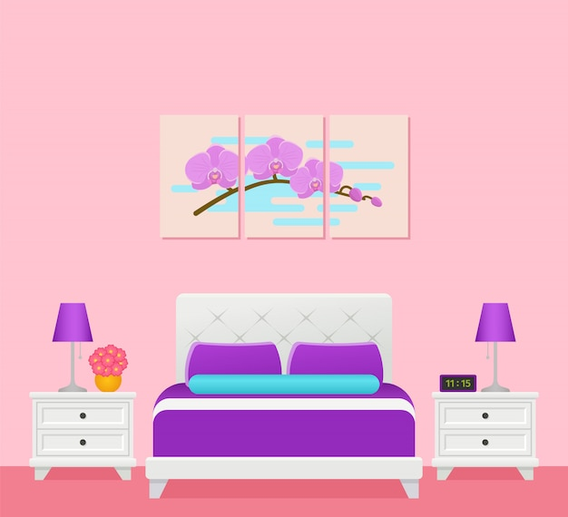 Interno camera d'albergo con letto, camera da letto,