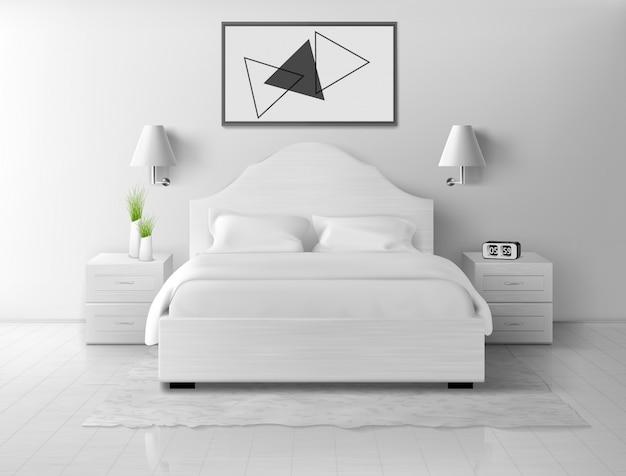Interno camera da letto, casa o appartamento vuoto dell'hotel