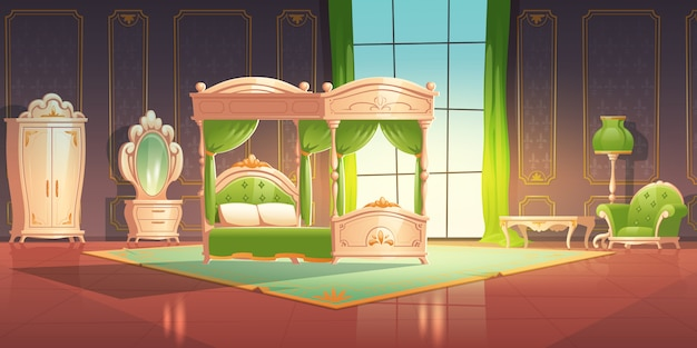 Interno camera da letto di lusso con mobili in stile romantico.
