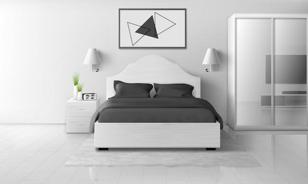 Interno camera da letto in colori bianco e nero, casa moderna