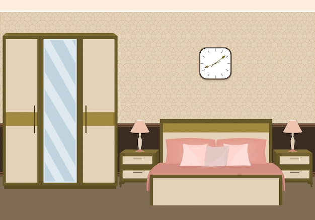 Interno camera da letto in colori pastello con mobili.