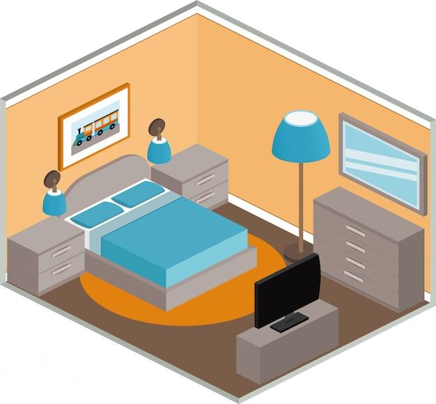 Interno camera da letto in stile isometrico.