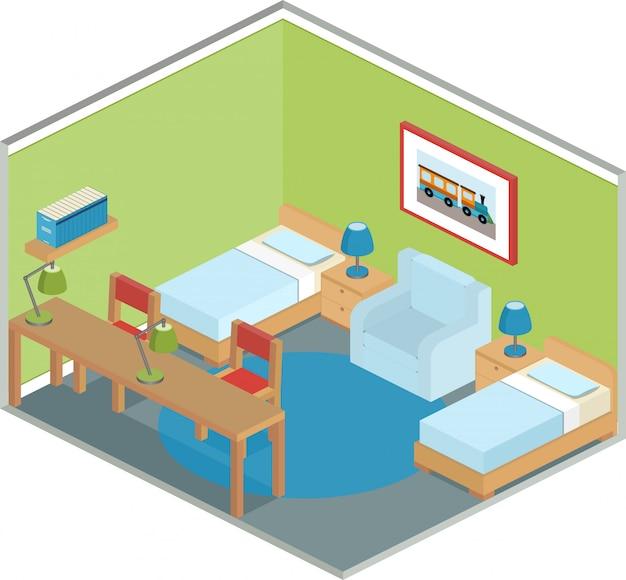 Interno camera da letto in stile isometrico,