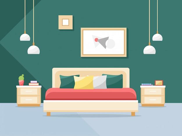 Interno camera da letto in uno stile piatto. letto e altri mobili camera da letto.