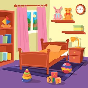 Interno camera da letto per bambini. camera dei bambini. illustrazione vettoriale