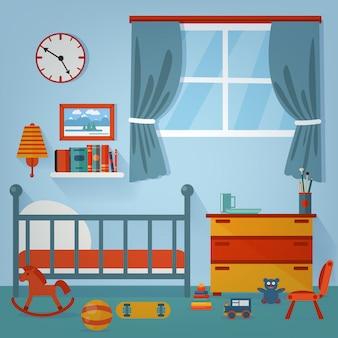 Interno camera da letto per bambini. mobili e giocattoli per bambini. illustrazione vettoriale