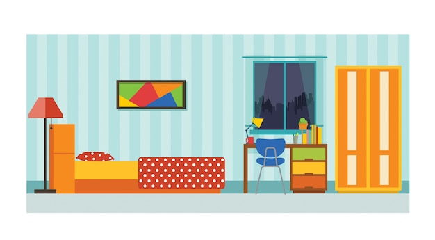 Interno camera da letto piccola casa